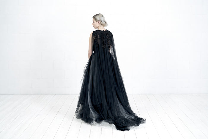 black bridal cape