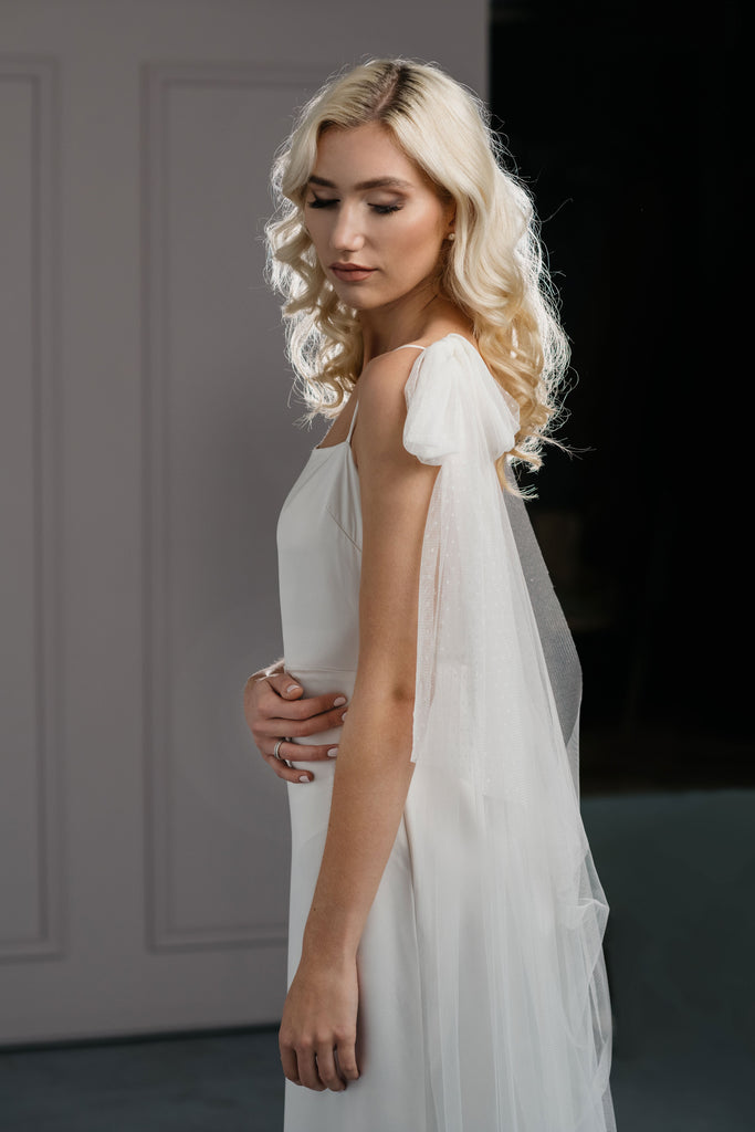 Bridal cape with bow - PARIS