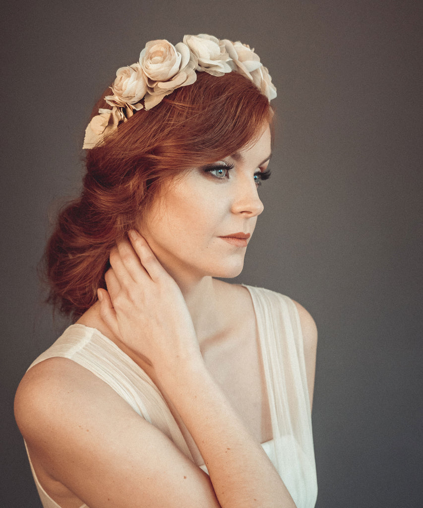 Beige bridal floral crown