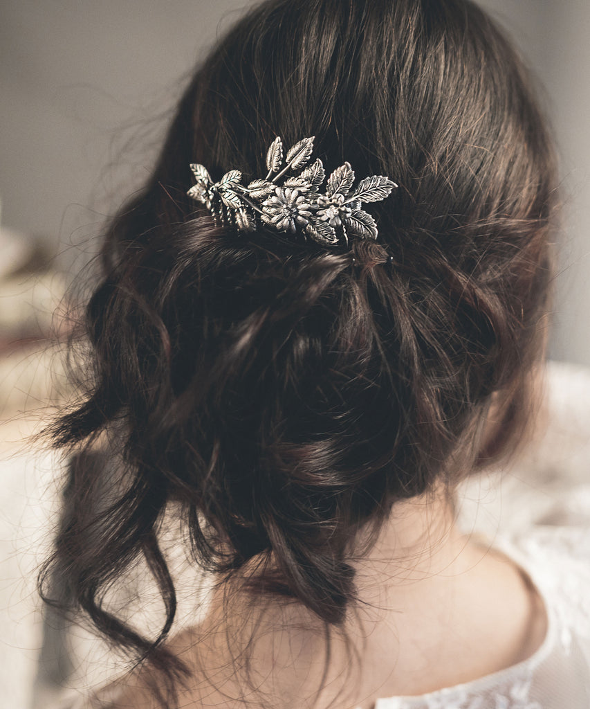 Bridal hair comb silver or gold - floraljewellery