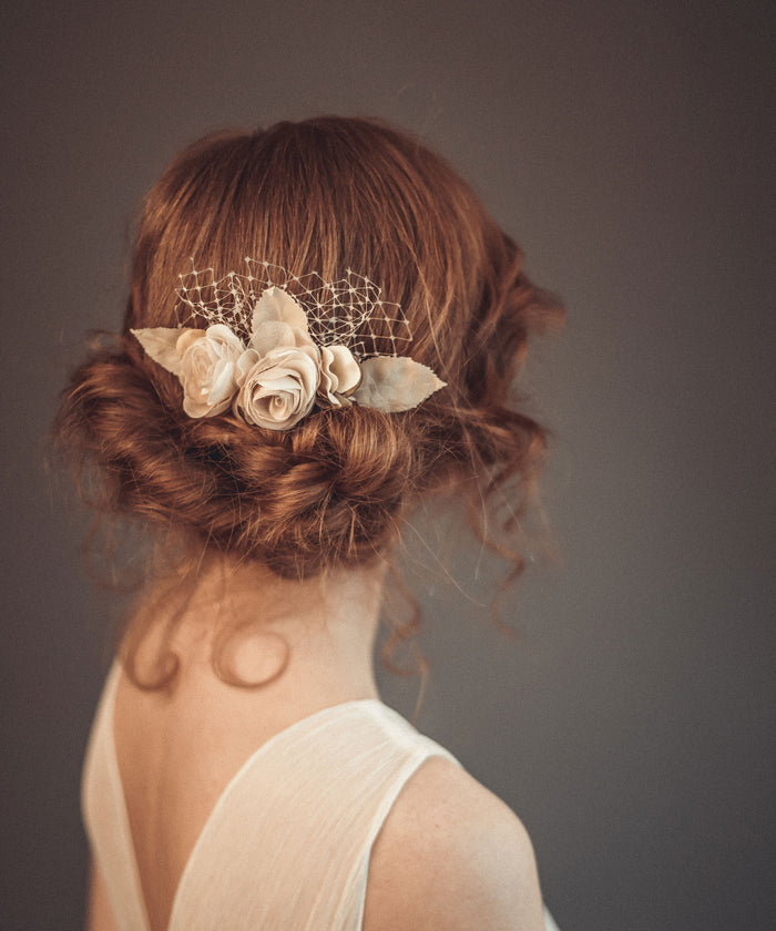 Bridal hair flower, hair comb