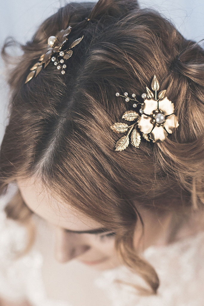Gold floral hair pins
