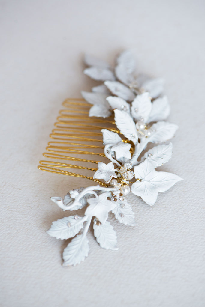 Leaf hair piece in white or ivory - MADLINE