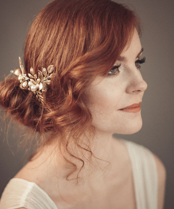 gold leaf and flower hair vine with pearls and crystals