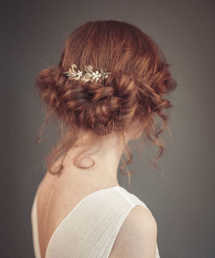 Gold hair combs with flowers for brides, bridesmaid, or for any special occasion when you want to feel like goddess or nymphs.