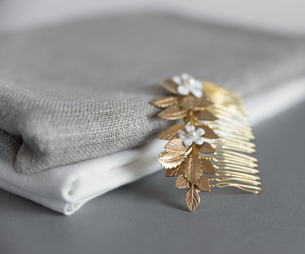 Gold hair comb with flowers - Aigle petite