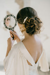 wedding pearl hair comb gold or silver in bride hair