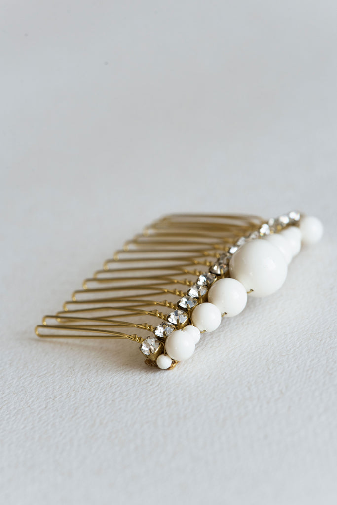 wedding pearl hair comb gold