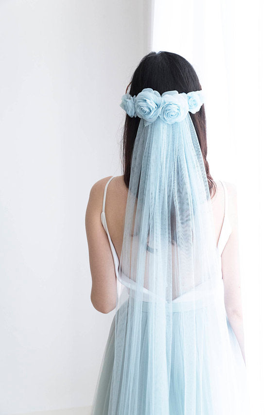 custom color wedding veil and flower crown