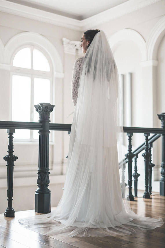 two tier veil from soft English tulle