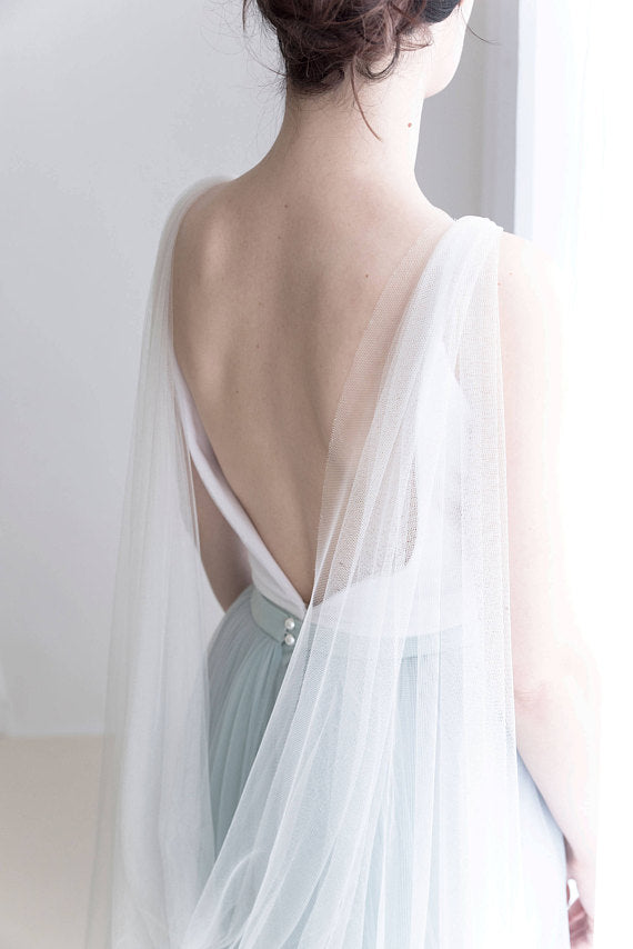 bridal cape veil in custom color