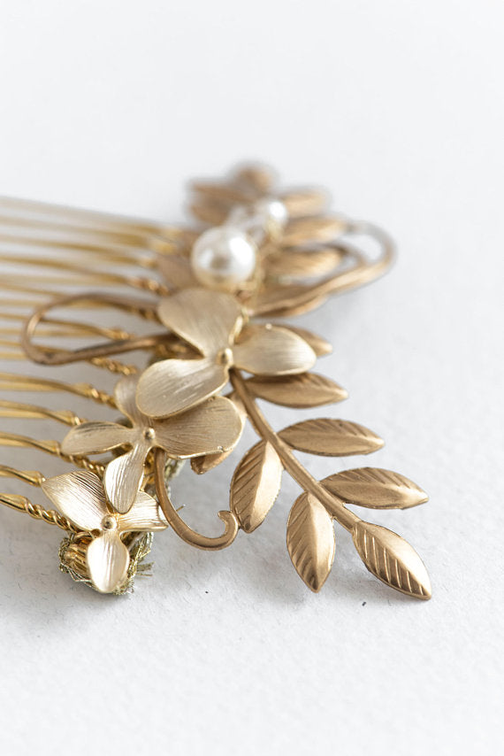 Wedding hair comb  silver or gold - floraljewellery
