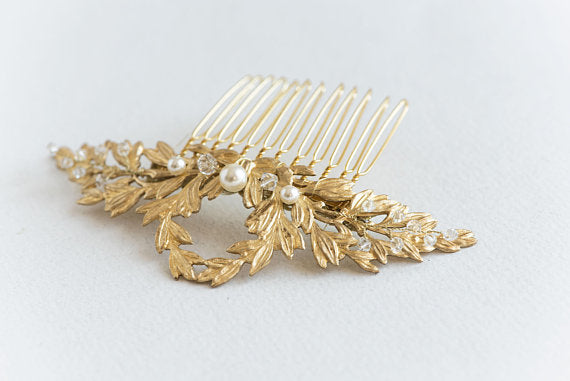 Gold leaf wedding hair comb - floraljewellery