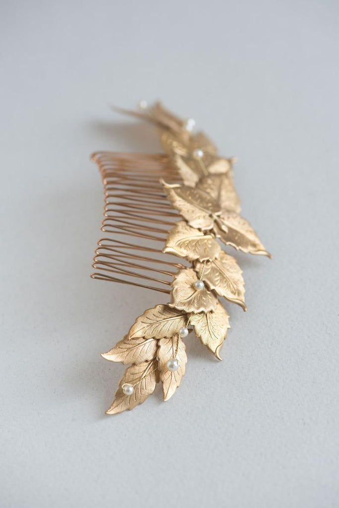 gold leaf comb with pearls