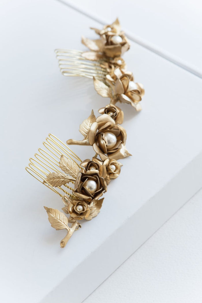 gold roses flower hair comb