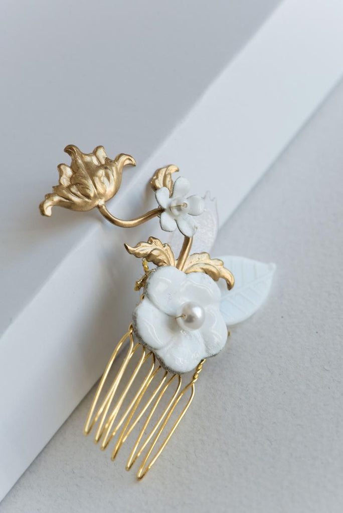 floral hair comb with enameled flowers