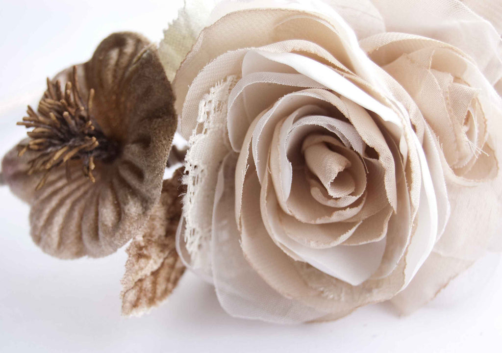 Wedding headpiece - Flower crown - Bridal headband - Wedding headband - Flower headpiece - Beige floral crown - floraljewellery