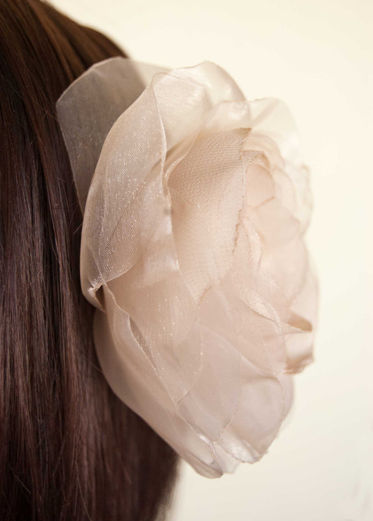 Wedding hair flower - Champagne beige wedding hairpiece -  Rustic wedding hairpiece - Beige rose hair clip