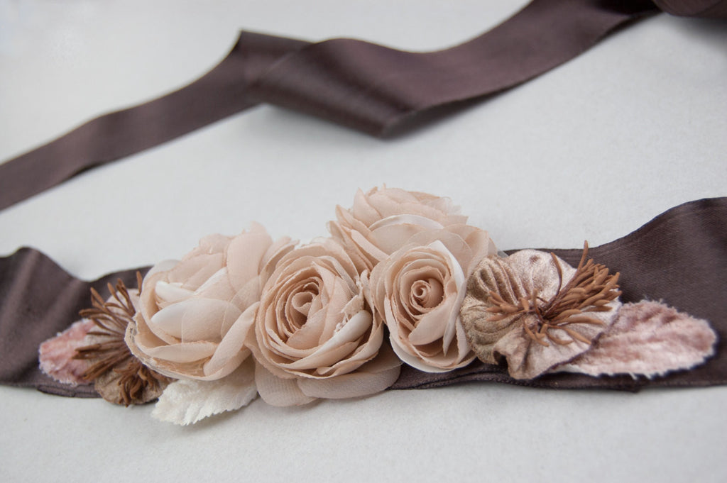 Bridal floral sash, Wedding floral sash, Wedding dress sash, Brown sash - floraljewellery