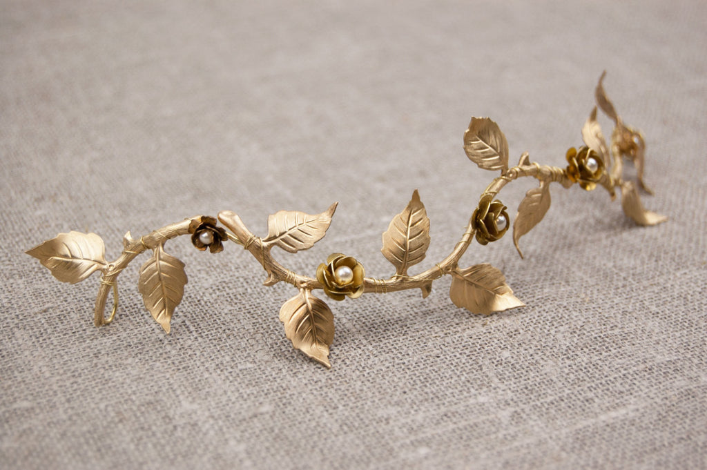 Bridal hair vine -  Boho wedding headpiece - Gold wedding hairpiece - Gold leaf hair vine - Wedding headband - Bridal headband - floraljewellery