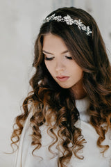 silver bridal hair piece