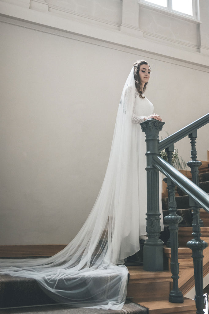 bridal veil from soft English tulle