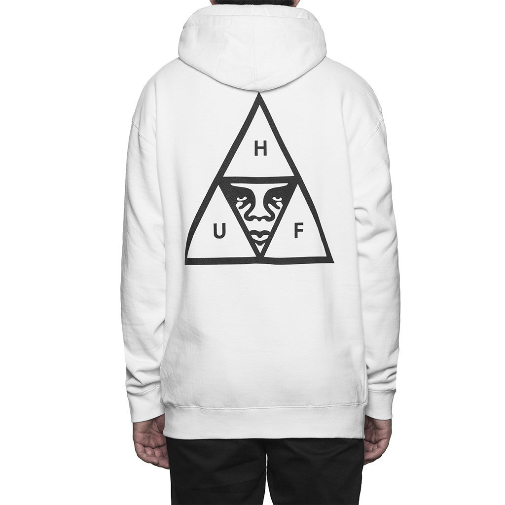 HUF X OBEY Triple Triangle Hoodie (White)