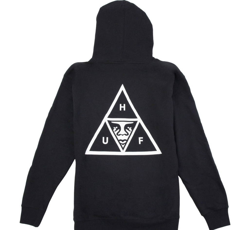 HUF x OBEY Triple Triangle Hoodie (Black)
