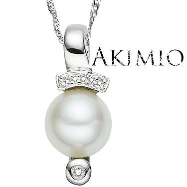 Akimio Designer Necklace - Womens Sterling Silver 0.03ctw Diamond and 0.65ctw Pearl Necklace Plated in Platinum - Length 18 in.