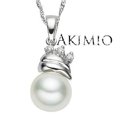 Akimio Womens Platinum Over Solid Sterling Silver 3 Diamonds 0.65 CTW Pearl 18 Inch Designer Necklace