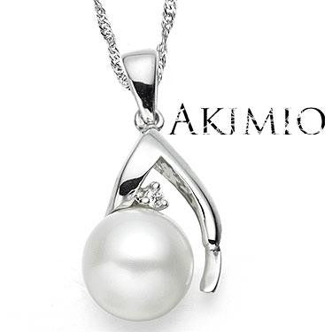 Akimio Designer Womens Platinum Over Sterling Silver Diamond and 0.65 CTW Pearl 18 Inch Designer Necklace