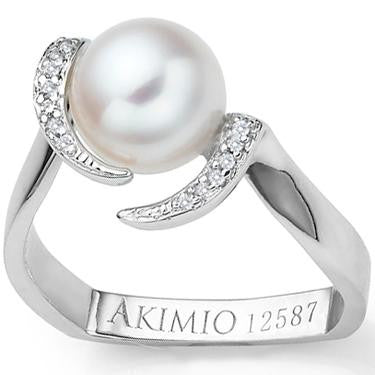 Akimio Womens Platinum Over Sterling Silver Diamonds and .65 CTW Pearl Size 7 Designer Ring