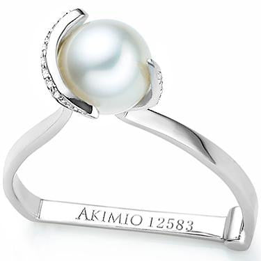 Akimio Womens Platinum Over Sterling Silver Diamond and Pearl Size 7 Designer Ring