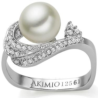 Akimio Womens Platinum Over Sterling Silver 31 Diamonds and Pearl Size 7 Designer Ring