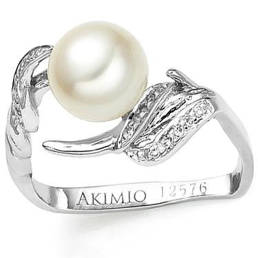 Akimio Womens Platinum Over Sterling Silver 17 Diamonds and Pearl Size 7 Designer Ring