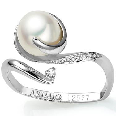 Akimio Womens Platinum Over Sterling Silver Diamonds and Pearl Size 7 Designer Ring