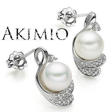 Akimio Womens Platinum Over Sterling Silver Diamonds and Pearl Designer Earrings