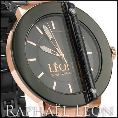 Raphael Leon CLASSIC II Black Ion Over Stainless Steel Swiss Movement Diamond Designer Watch with MOP Dial