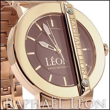 Raphael Leon CLASSIC II 18K Rose Gold Over Stainless Steel Swiss Movement Diamond Designer Watch with MOP Dial