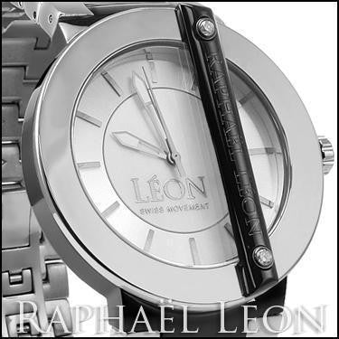 Raphael Leon CLASSIC II 18K White Gold Over Stainless Steel Swiss Movement Diamond Designer Watch with MOP Dial