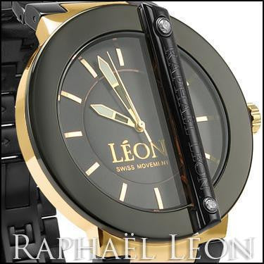 Raphael Leon CLASSIC II Black Ion Over Stainless Steel Swiss Movement Designer Watch with MOP Dial