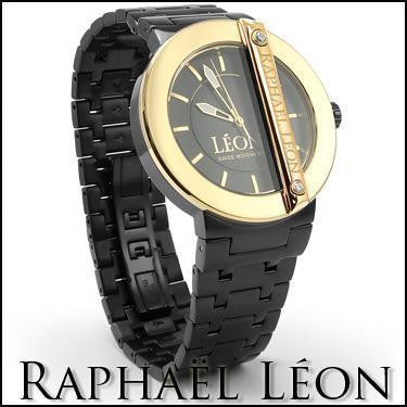 Raphael Leon CLASSIC II 18K Yellow Gold Over Stainless Steel Swiss Movement Diamond Designer Watch with MOP Dial