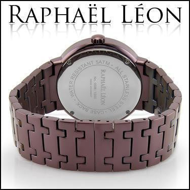 Raphael Leon CLASSIC II Chocolate Ion Over Stainless Steel Swiss Movement Diamond Designer Watch with MOP Dial