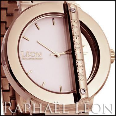 Raphael Leon SIGNATURE SERIES II 18K Rose Gold Over Stainless Steel Swiss Movement Diamond Designer Watch