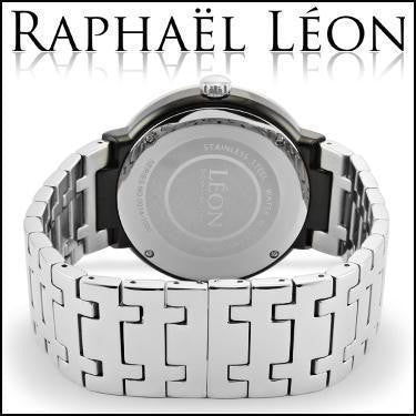 Raphael Leon SIGNATURE SERIES II 18K White Gold Over Stainless Steel Swiss Movement Diamond Designer Watch