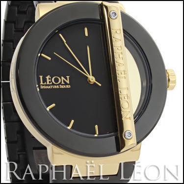 Raphael Leon SIGNATURE SERIES II 18K Yellow Gold Over Stainless Steel Swiss Movement Diamond Designer Watch