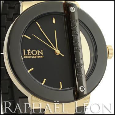 Raphael Leon SIGNATURE SERIES II Black Ion Over Stainless Steel Swiss Movement Diamond Designer Watch