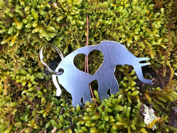 Elephant Metal Key Chain with Heart