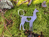 Llama Metal Key Chain with Heart