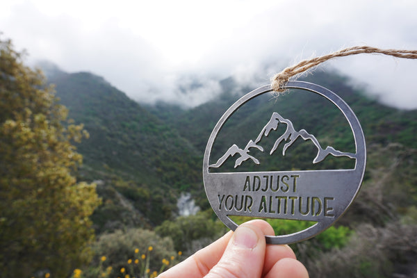 Adjust Your Altitude Mountain Ornament made from Recycled steel